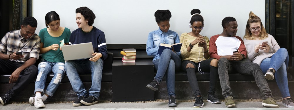 A row of young people