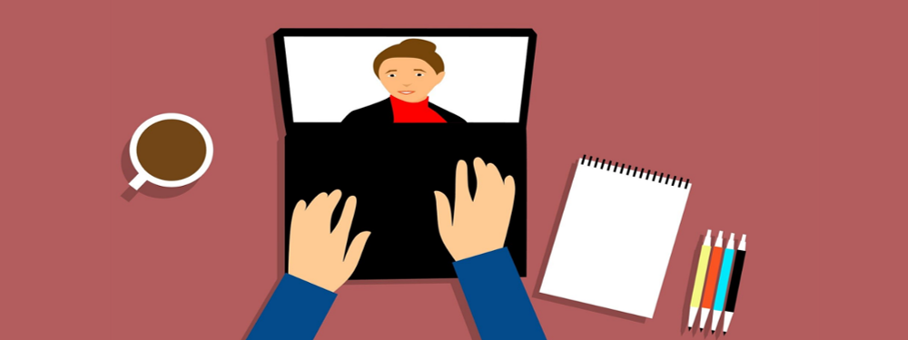 Cartoon of someone using a laptop to access online learning
