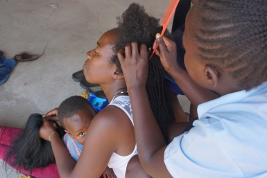 The ladies put their hairdressing training into action