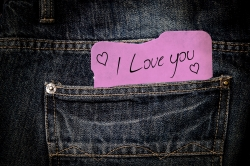 I love you note in jeans
